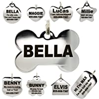 Stainless Steel Pet ID Tags - Engraved Personalized Dog Tags, Cat Tags Front & Back up to 8 Lines of…
