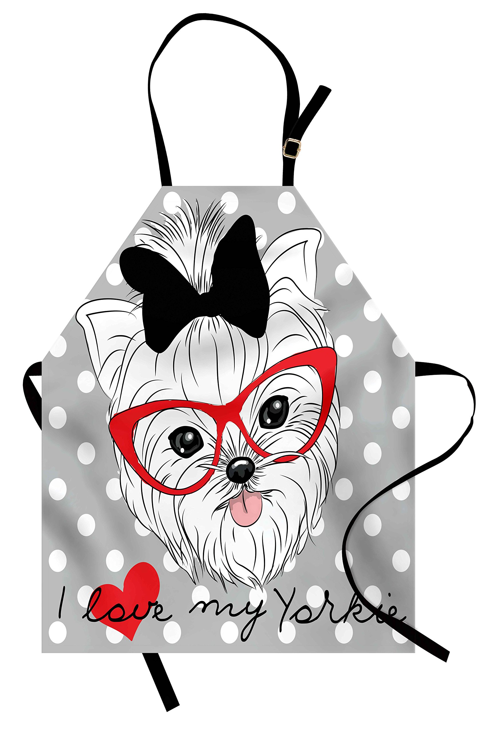 Ambesonne Yorkie Apron, Tilted Head Terrier I Love My Yorkie Red Nerd Glasses Love Heart Polka Dots, Unisex Kitchen Bib Apron with Adjustable Neck for Cooking Baking Gardening, Black White Red