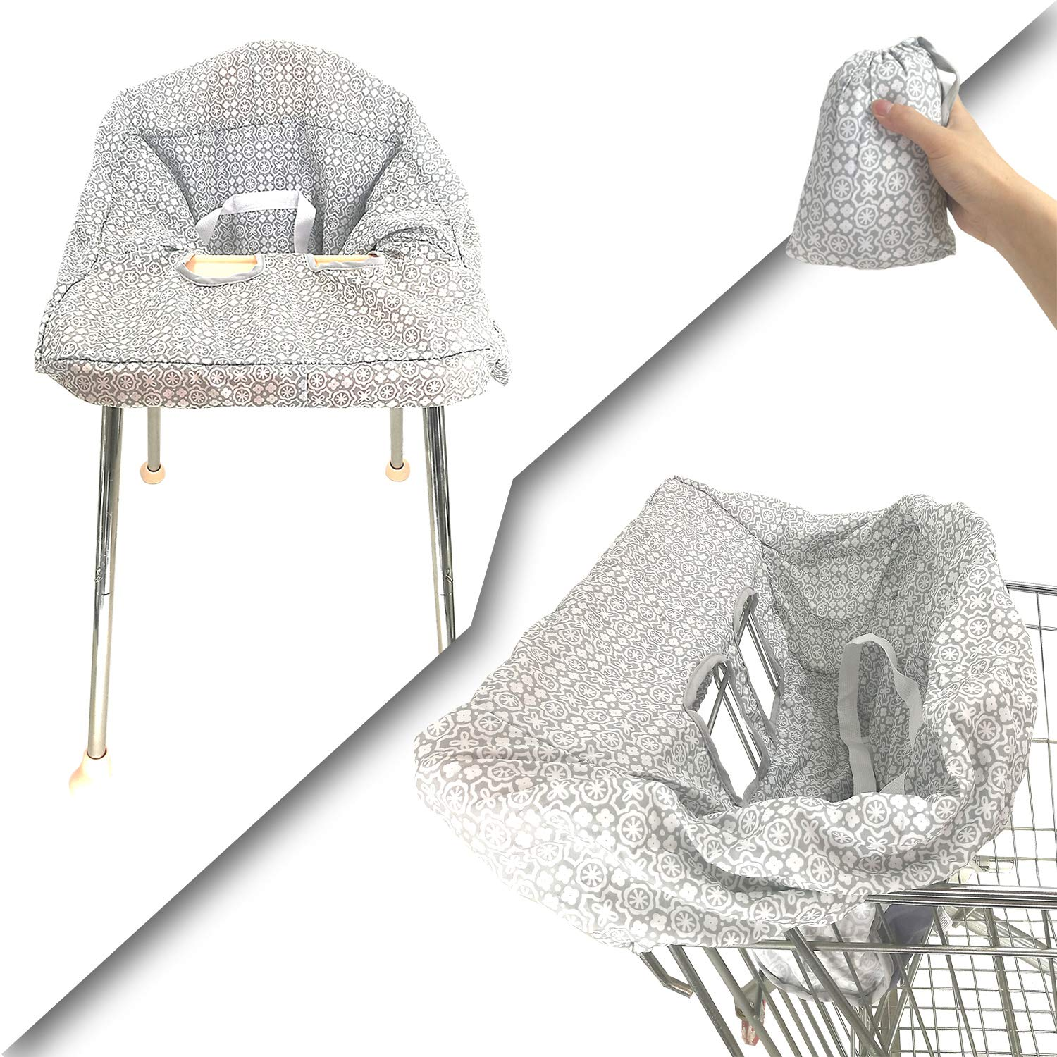 Waterproof 2-in-1 Shopping Cart & Baby High Chair Seat Covers with Portable Carry Bag | Machine Washable | Handy to Carry
