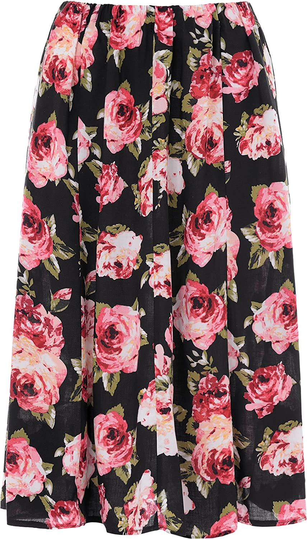 KK Fashion Lines Ladies Womens Floral Skirt 8 Panel 27 Inch Length Elasticated Waist Lightweight Viscose Fabric