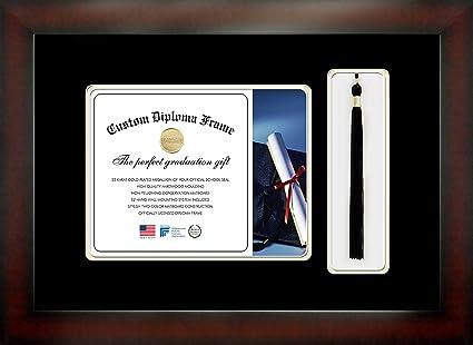 Caoba Acabado infinity Marco Diploma con Tassel Box Crema y Negro ...