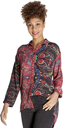 SOIZZI Boho Chic Embroidery Women Tops Blouses Long Sleeves with Flower Print, Red Black