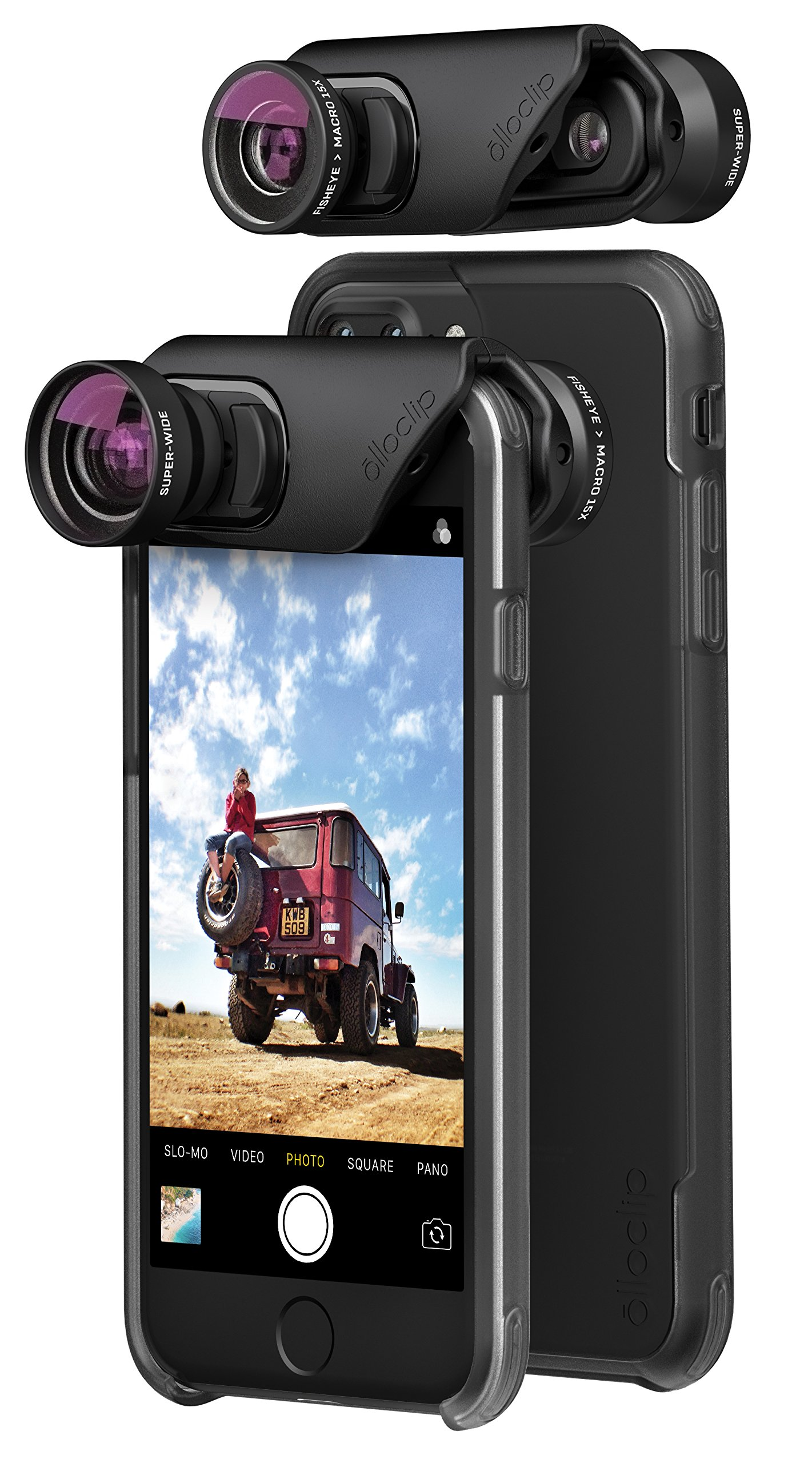 olloclip — CORE LENS SET + OLLO CASE Combo - Compatible with iPhone 8/7 & iPhone 8/7 Plus — Includes 2 iPhone cases + SUPER-WIDE, FISHEYE & MACRO Premium Glass Lenses — Lens: Black/Black, Cases: Clear