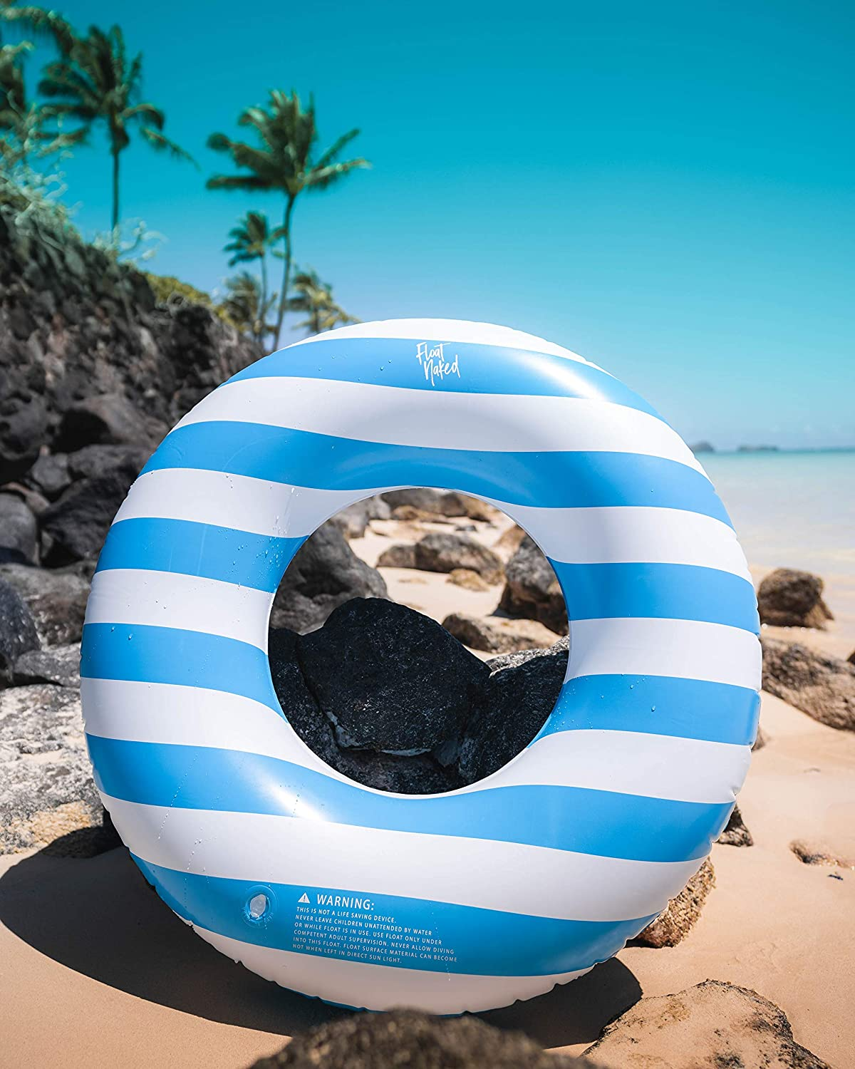 Pool Tubes with Fun Prints Fun Swim Floaties for Adults Great Inner Tube Pool Floaty for All Ages Celebrity-Approved Tubes for Floating Blue Stripe Float Naked