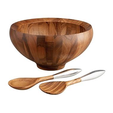 Nambe Yaro Acacia-Wood Salad Bowl with 2 Servers