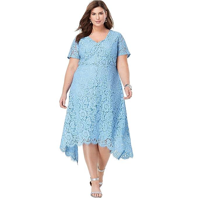 Jessica London Women\'s Plus Size Lace Handkerchief Dress