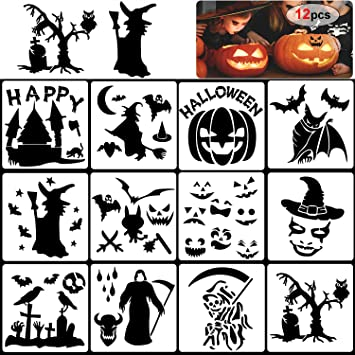 Howaf 12 Pcs Halloween Pochoir Kit De Dessin Au Pochoir En