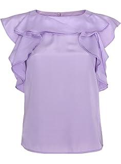 oodji Ultra Mujer Blusa con Volantes de Tejido Fluido