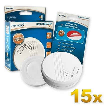 15x Nemaxx FL2 Rauchmelder - hochwertiger Rauchwarnmelder Nach EN 14604 mit sensibler fotoelektrischer Technologie + 15x Nemaxx NX1 Quickfix ...