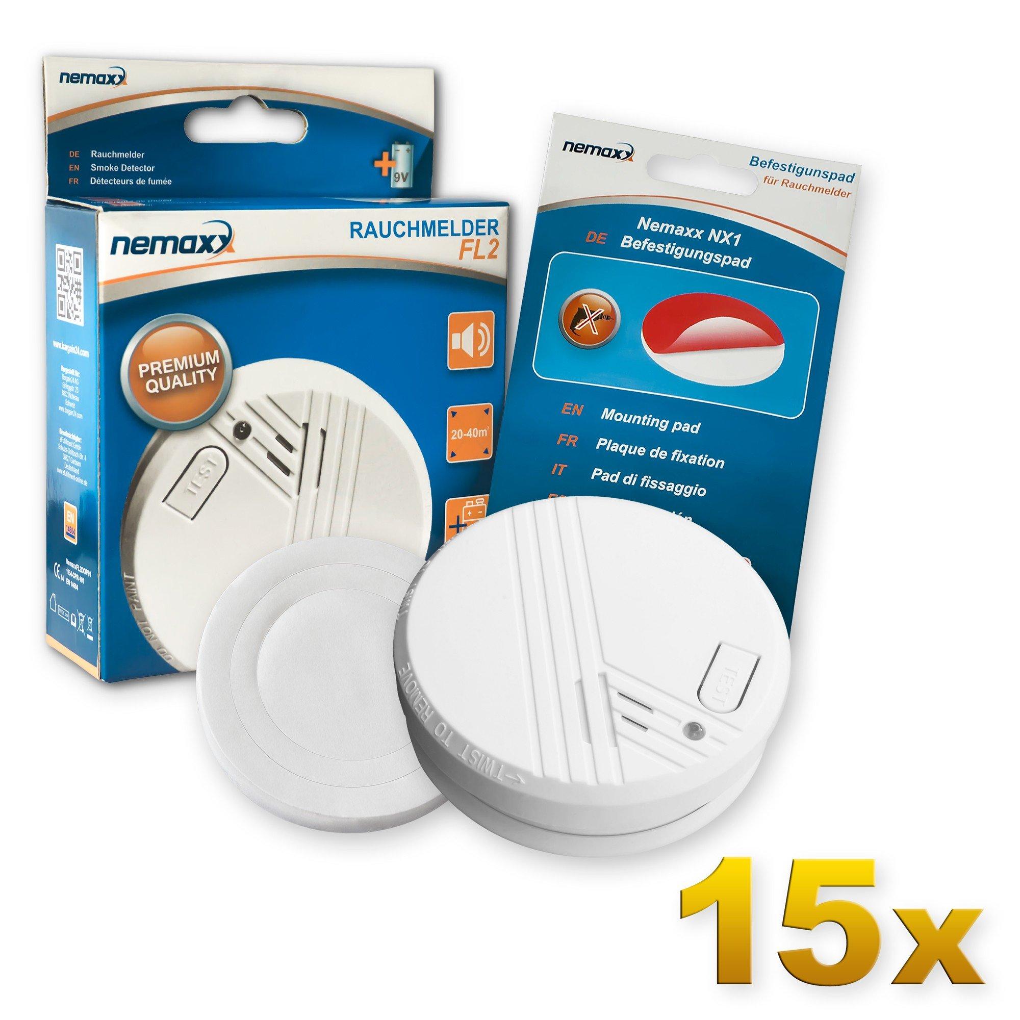 15x Nemaxx FL2 Rauchmelder - hochwertiger Rauchwarnmelder Nach EN 14604 mit sensibler fotoelektrischer Technologie + 15x
