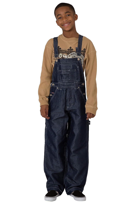 Vibes Boy's Dark Indigo Shiny Denim Carpenter Overalls 207505K-BLUE