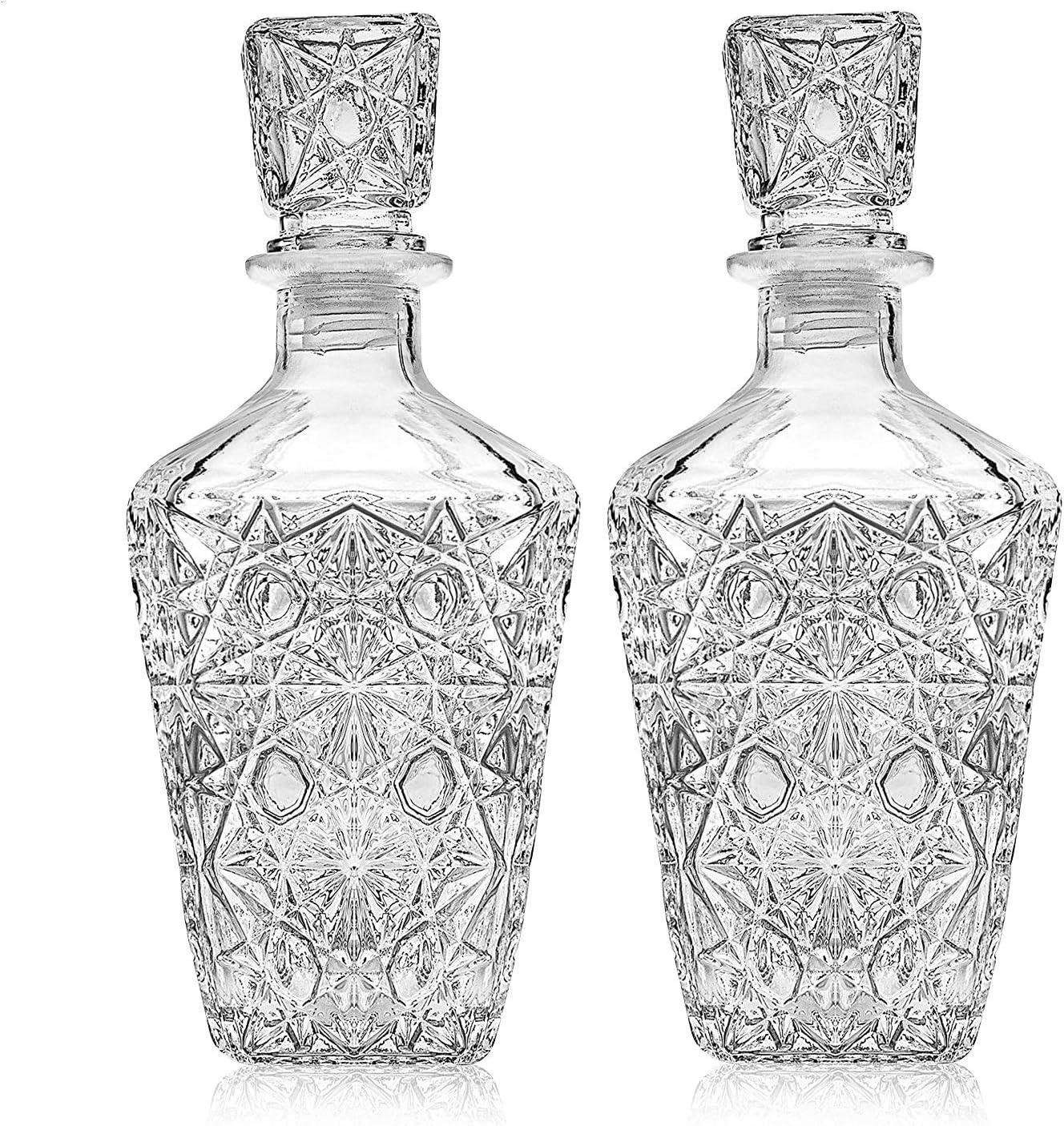 Whiskey Decanter – Elegant Liquor Decanter Set – Glass Liquor Bottle for Whiskey, Tequila and Brandy – Sophisticated Sparkling Design – Set of 2 Premium Decanters for Alcohol