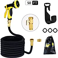 HmiL-U Garden Hose Strongest Double Latex Inner Tube Prevent Leaking Magic Garden Hosepipe with 9 Function Spray Gun+Solid Brass Connector Fittings+Brass Valve+Heavy Metal Hanger+Storage bag【2 YEARS