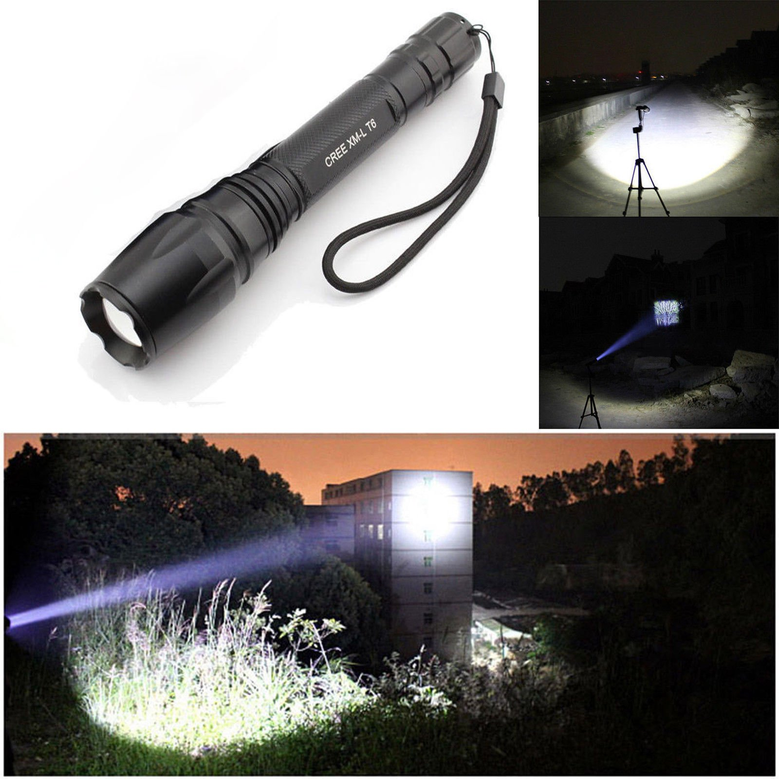 USA Premium Store Tactical Police 10000Lumen CREE T6 5Modes LED Flashlight Lamp Aluminum Torch Set