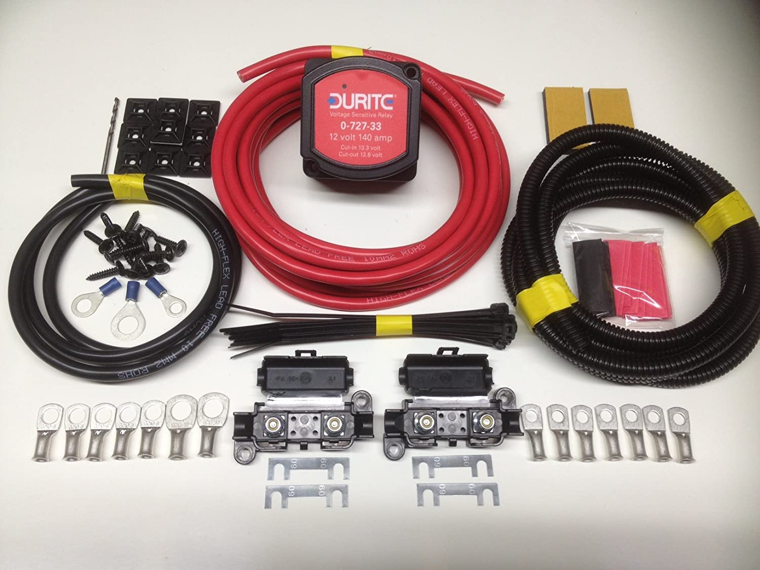 5mtr Split Charge Relay kit with Cargo 12V 140amp Voltage sense Relay /& 110amp Ready Made Leads SCKC305