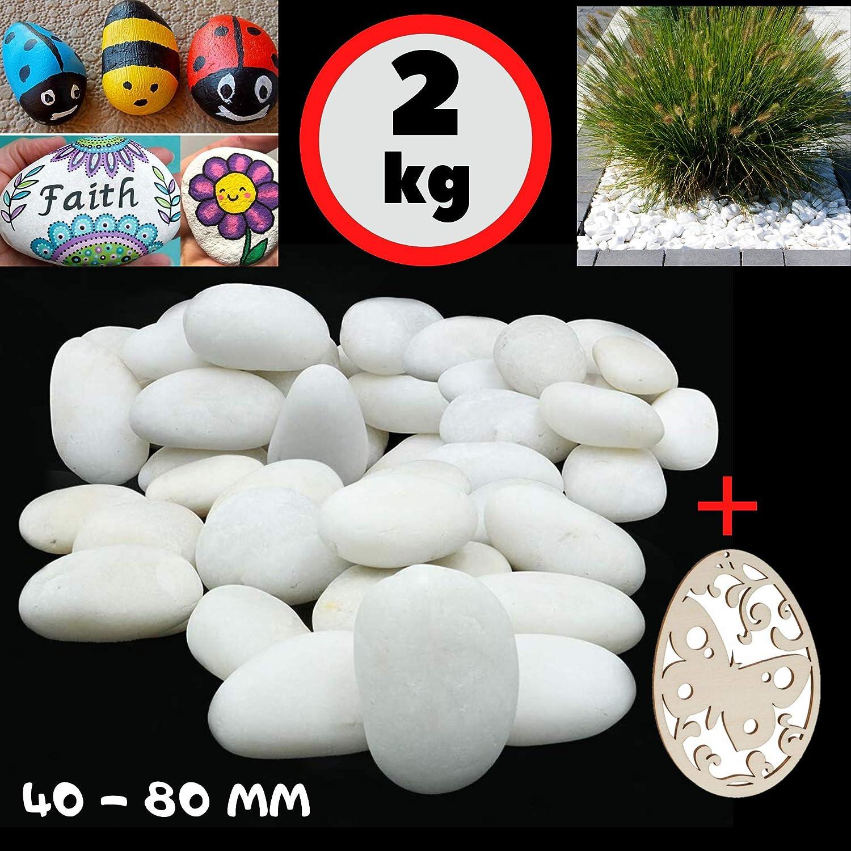 Grandes Piedras para Pintar y Piedra Blanca Jardin Decorativas piedra Natural Grava Acuario decorativa guijarros para decoración de jardines pinturas decoración de acuarios 40-80 mm