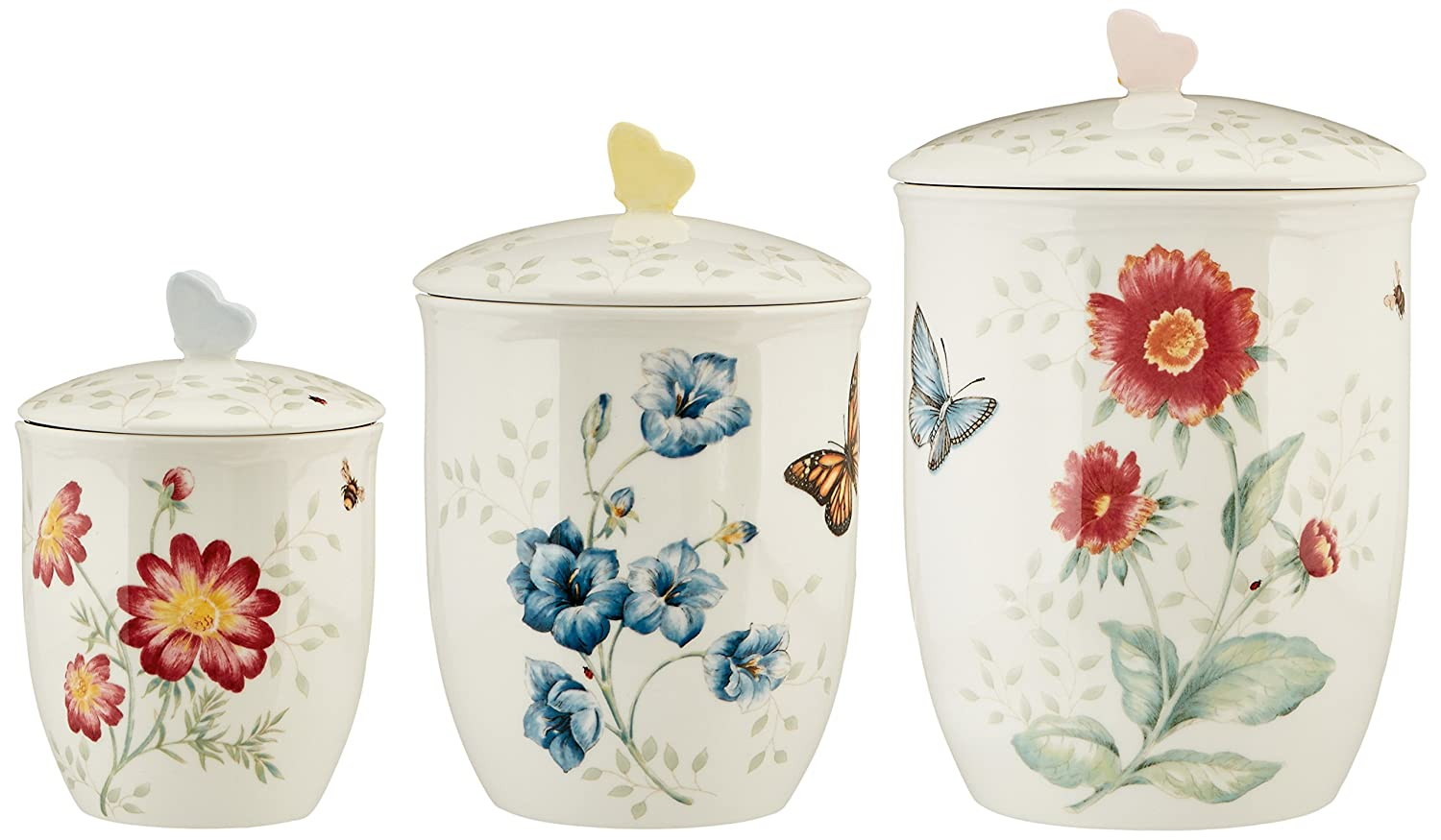 Lenox 3 Piece Butterfly Meadow Canister Set, White 813478