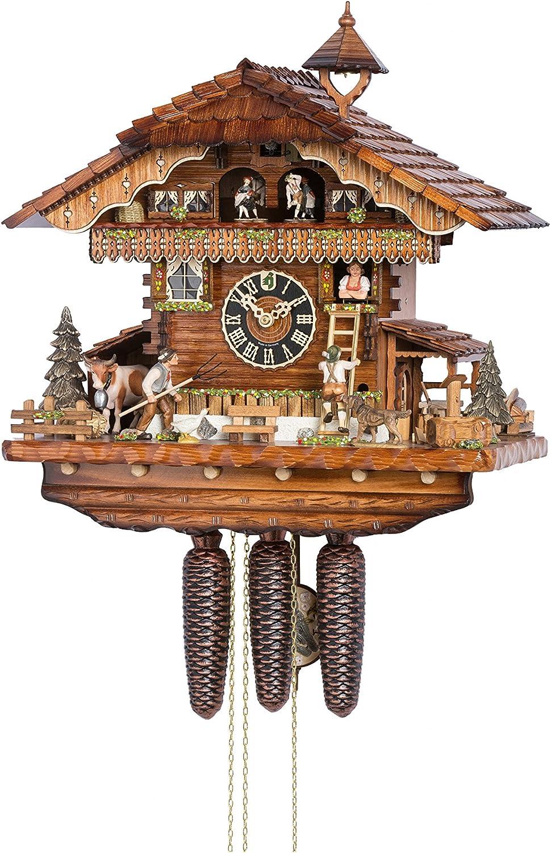 Hönes Reloj cucú Casa de la Selva Negra Amante Subir una Escalera a la Mujer - el Agricultor Amenaza con su Tenedor de estiércol: Amazon.es: Hogar