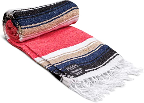 Mexican Blanket, Premium Yoga Blanket | Authentic Hand Woven Falsa Blanket | Made by Mexican Artisans, Thick & Soft Serape | Perfect Beach Blanket, ...