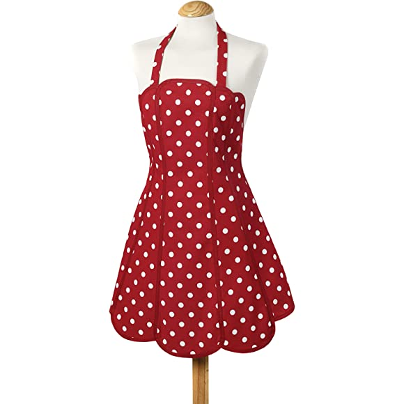 Belle Panelled Red Polka Dot Apron