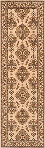 Momeni Rugs Persian Garden Collection, 100 New Zealand Wool Traditional Area Rug, 2 6 x 8 Runner, Ivory