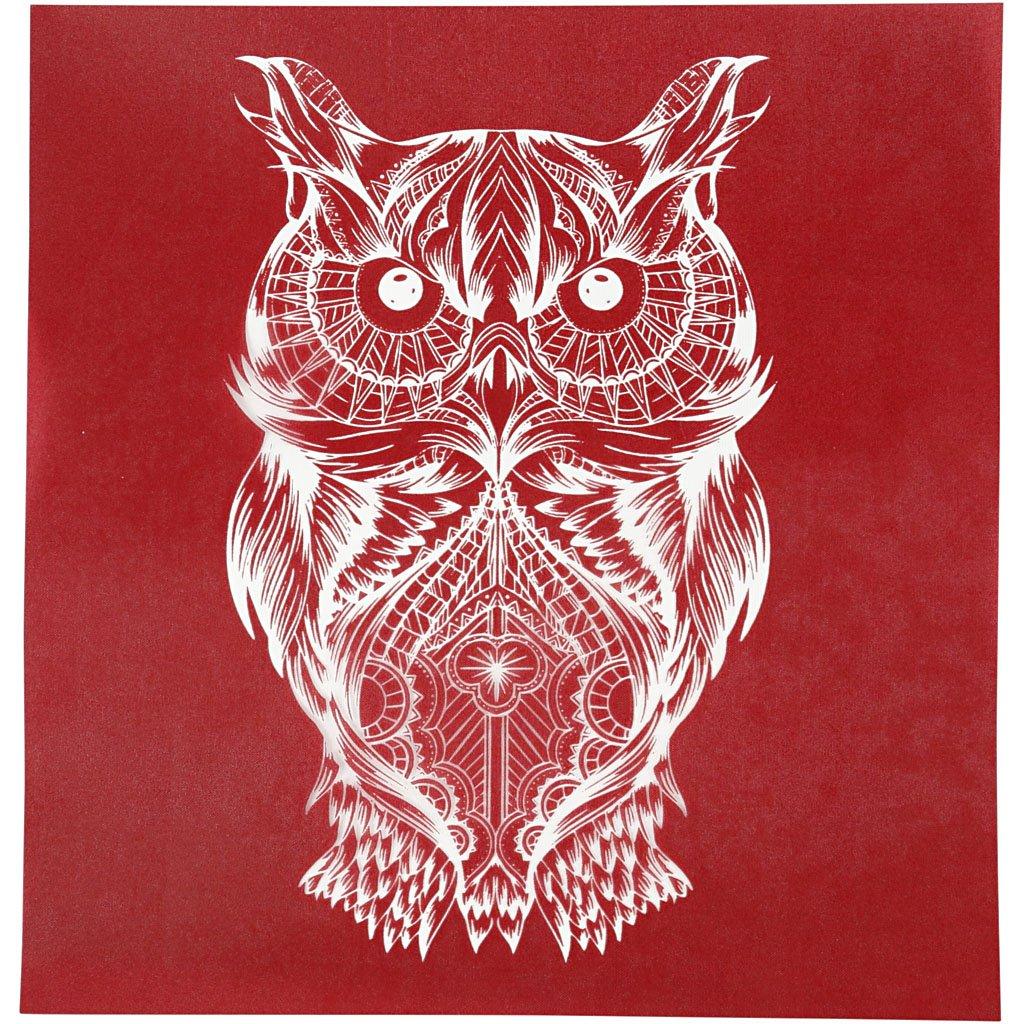 Screen Stencils, sheet 20x22 cm, owl, 1sheet Creativ Company