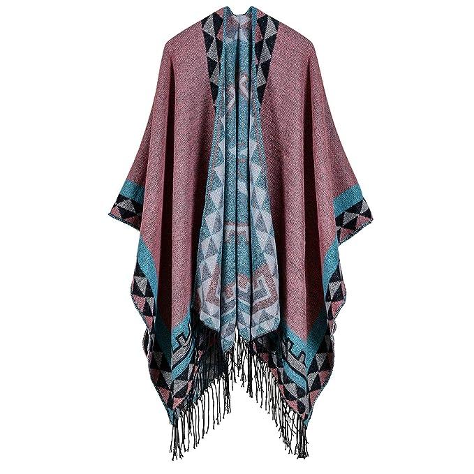 9bb5788be6d Women s Printed Tassel Cape Cardigan Winter Shawl Poncho Open Front Wrap  Wool Blanket Coat Pink