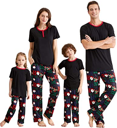 IFFEI Matching Family Pajamas Sets Christmas PJs Letter Print Top and Plaid Pants Sleepwear