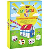 BIC Kids My Farm Colouring Kit - 12 Felt Pens/12 Wax Crayons/ 12 Colouring Pencils/1 Eraser/1 Glue Stick/6 Glitter Glue…
