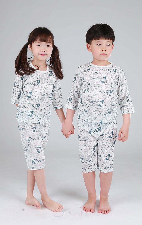 OllCHAENGi Toddler Kids Boys Girls Cotton Pajama Set 3//4 Sleeve 3T-14Y Forest Friends