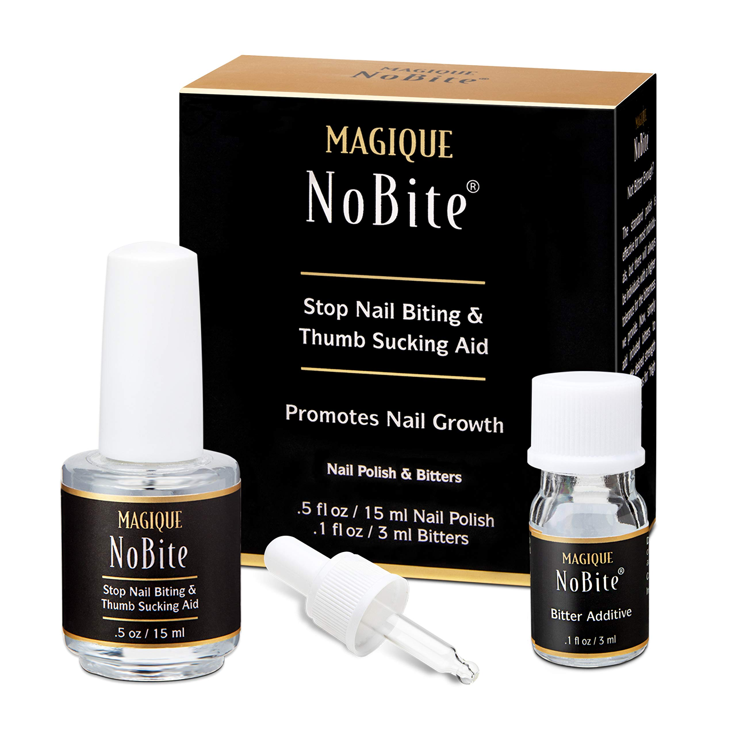 Nail Biting Treatment For Kids & Adults - Thumb Sucking Stop - No Bite Nail Polish - Finger Sucking Stop - Stop Nail Biting - Prevent Nail Biting - Nail Biting Stop - Magique NoBite, 0.5 Fl Oz