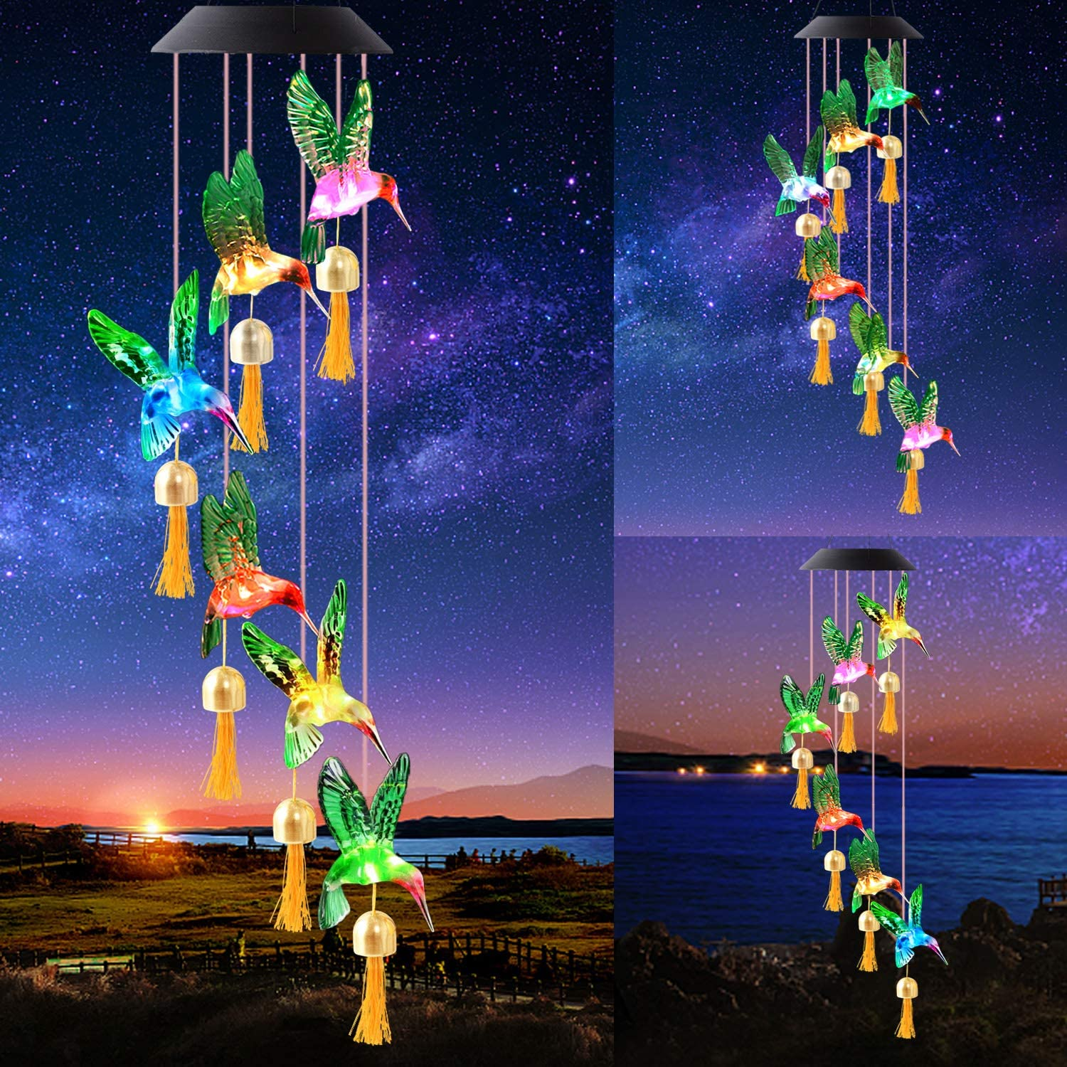 Diojilad Solar Wind Chime for Outside,Color Changing Solar Lights, LED Decorative Mobile, Waterproof Outdoor Solar Lights for Home/Yard/Patio/Garden/Mom Gift