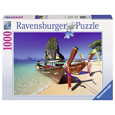 Ravensburger Caribbean Boats 1000 Piece Jigsaw Puzzle for Adults – Every piece is unique, Softclick technology Means Pieces Fit Together Perfectly: Toys & Games