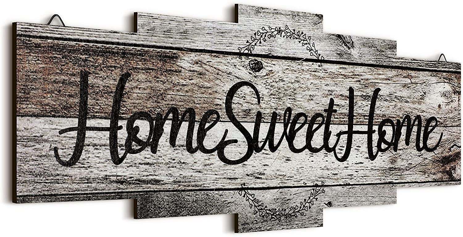 Jetec Home Sweet Home Sign, Rustic Wood Home Wall Decor, Large Farmhouse Home Sign Plaque Wall Hanging Wooden Sign for Bedroom, Living Room, Wall, Wedding Decor (Gray)