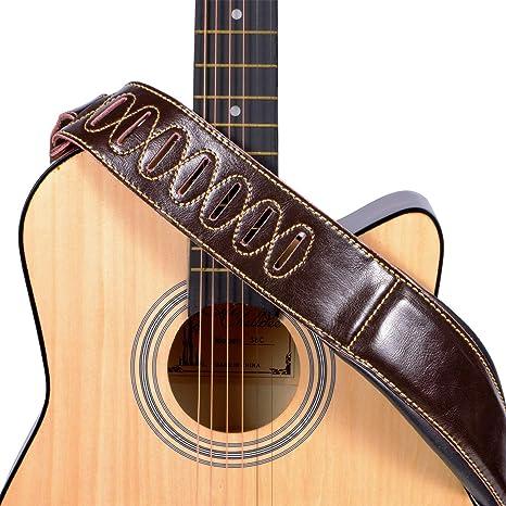 Mugig - Correa para guitarra de piel, doble grosor, ajustable de 127 a 145 cm, ancho 8,5 cm, correa vintage para guitarra eléctrica, guitarra o bajo (marrón oscuro): Amazon.es: Instrumentos musicales