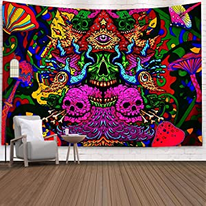Trippy Mushrooms Tapestry Wall Hanging,Colorful Tapestry Surreal Abstract Tapestries Wall Hanging for Bedroom Living Room Decor, 51.2 X 59.1 inches