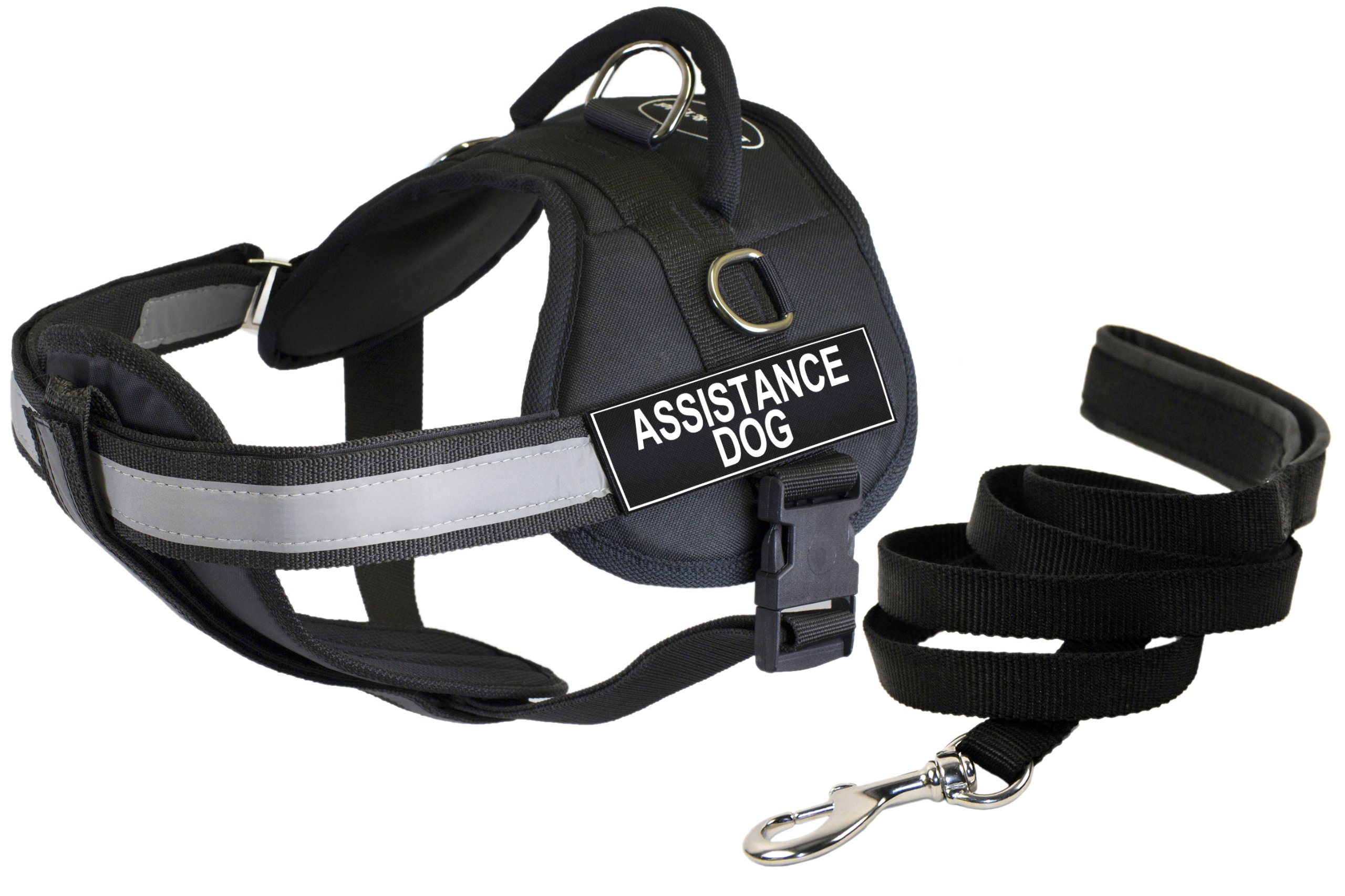 Dean and Tyler Bundle - DT Works Harness w/ Padded Chest, Assistance Dog, Medium (28''-38'') + Padded Puppy Leash, 6 FT Stainless Steel Snap - Black by Dean & Tyler (Image #1)