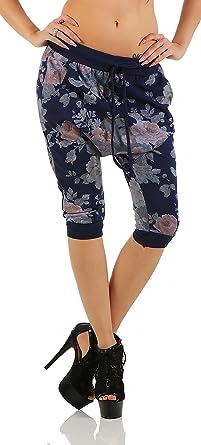 Damen Hose Haremshose Ballonhose Pluderhose Aladinhose Sommerhose Blumen Print