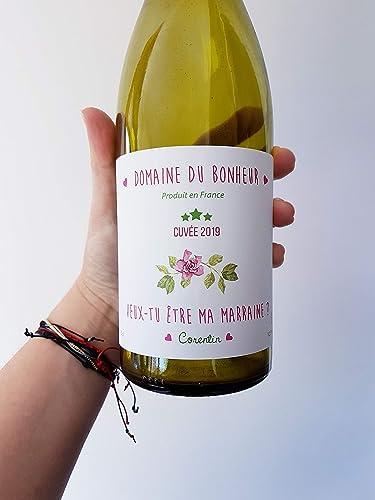 Etiquette Bouteille Vin Veux Tu Etre Ma Marraine