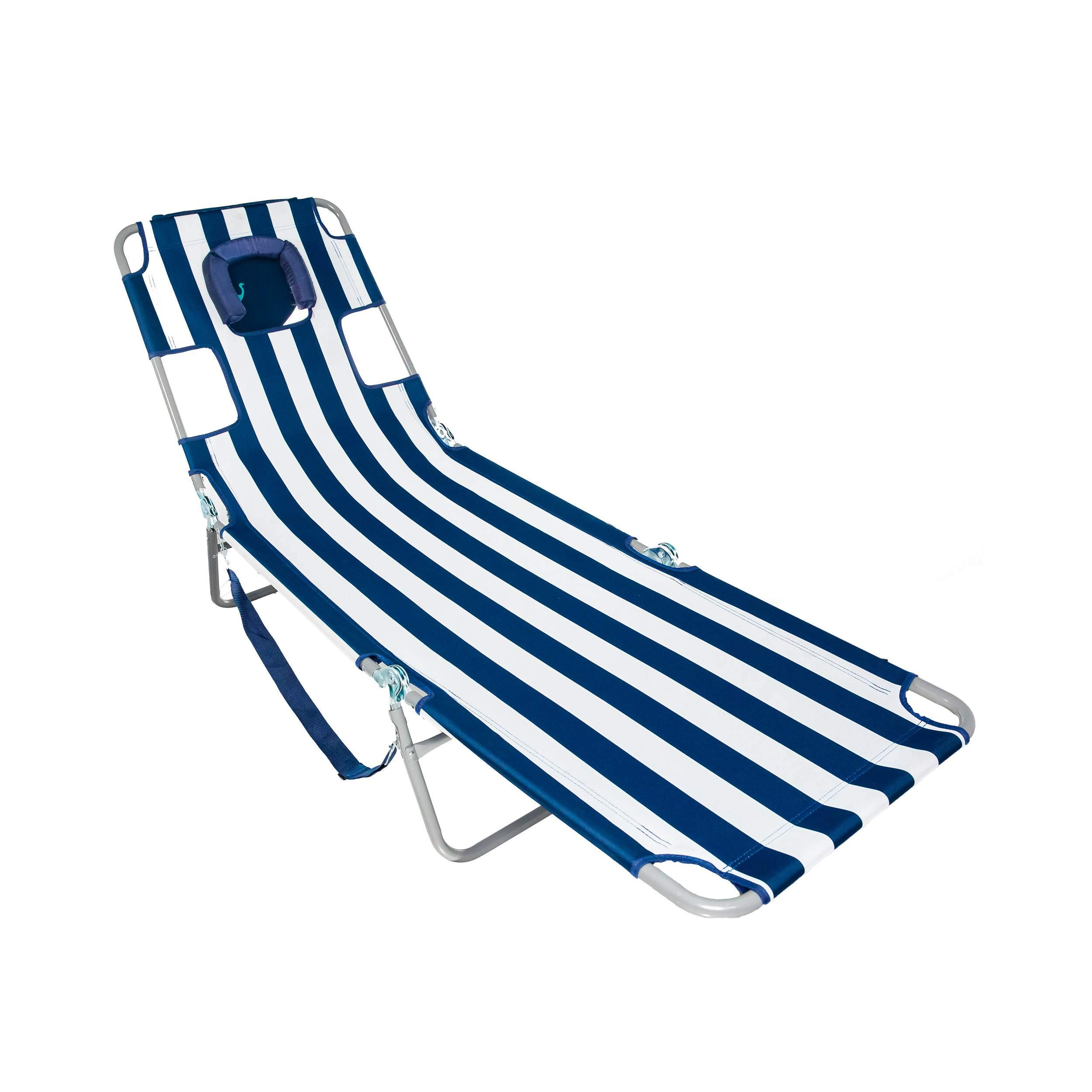 Ostrich CHS-1002S Chaise Lounge, 77.16 x 24.6 x 13.4 inches Assembled, Blue and White Striped by Ostrich