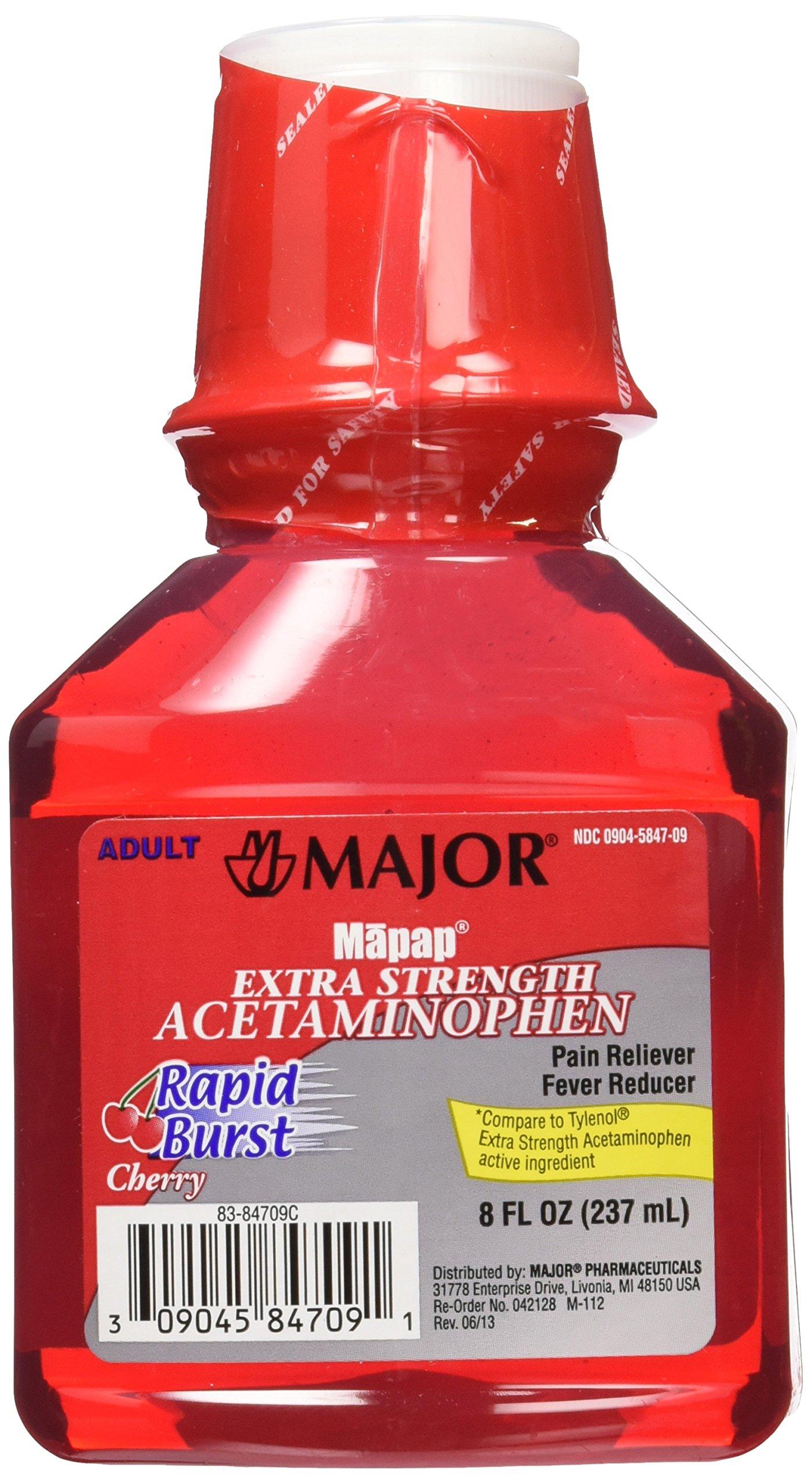 MAJOR Mapap Adult Rapid Extra Strength Acetaminophen Liquid Medication, Burst Cherry, 8 Fl. Oz, 3 Count by MAJOR