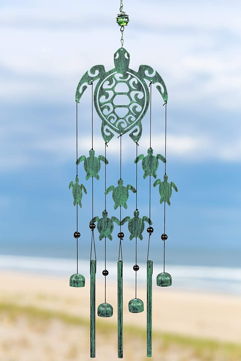 VP Home Tribal Turtles Outdoor Garden Decor Wind Chime (Rustic Sea Green)