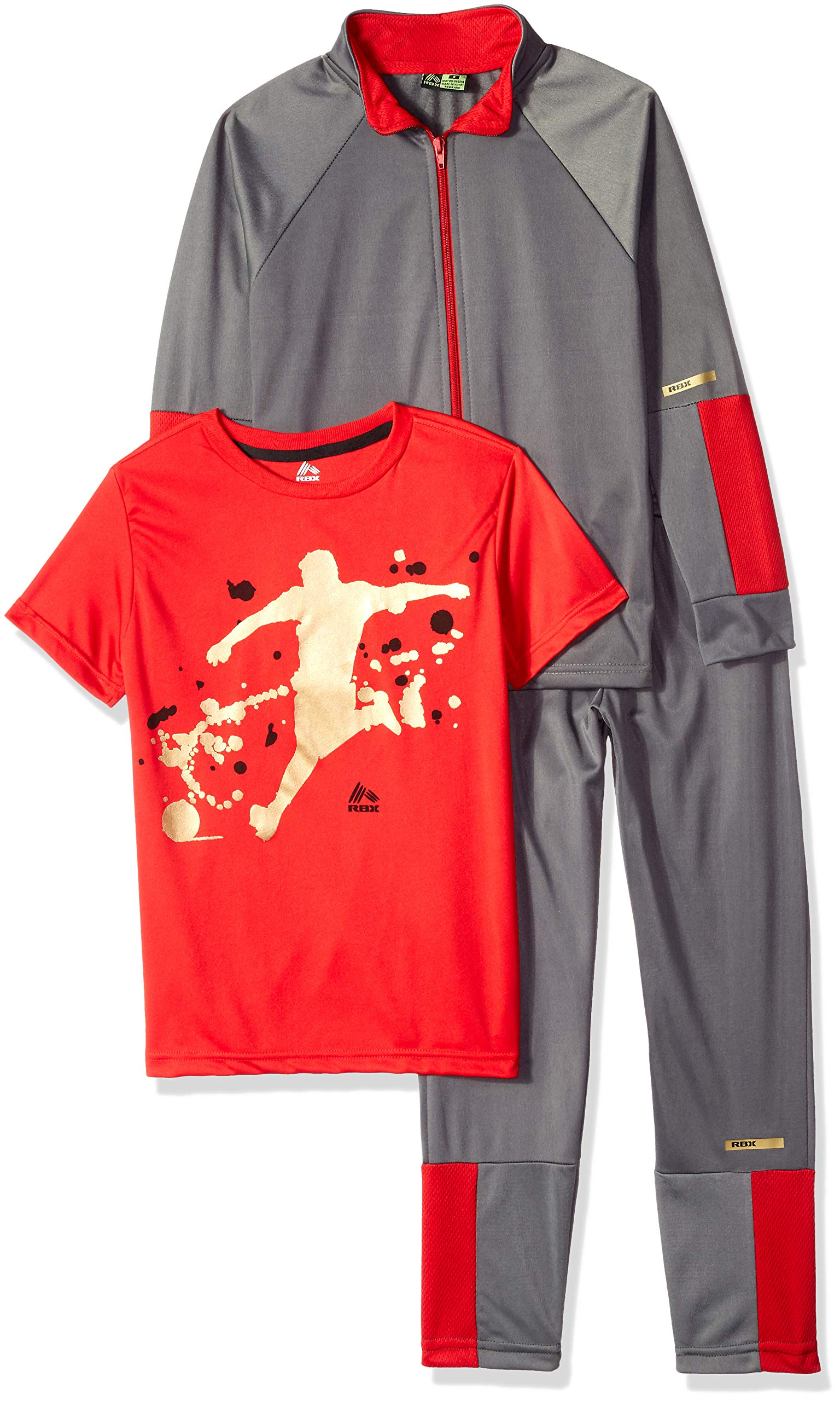 RBX Boys' Big Tricot Jacket, Tee and Pant Set, Castle Rock Grey/red, 10 by RBX