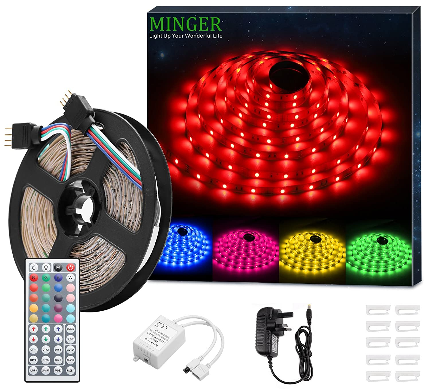 Led Strip Light Minger 16.4ft(5m)Rgb Smd 5050 Led Rope Lighting Color Changing Full Kit With 44 Keys Ir Remote Controller & 2 A Power Supply Led Lighting Strips For Home Lighting Kitchen Christmas Indoor Decoration by Amazon