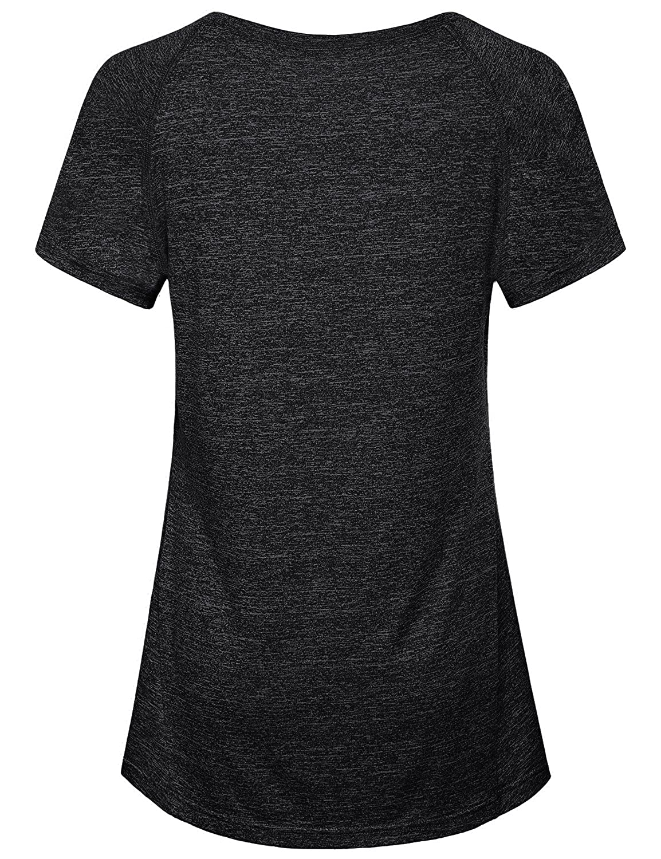 ede787bd0fd Amazon.com  Hibelle Women s Short Sleeve Yoga Running Workout Gym T-Shirt  Tops  Clothing