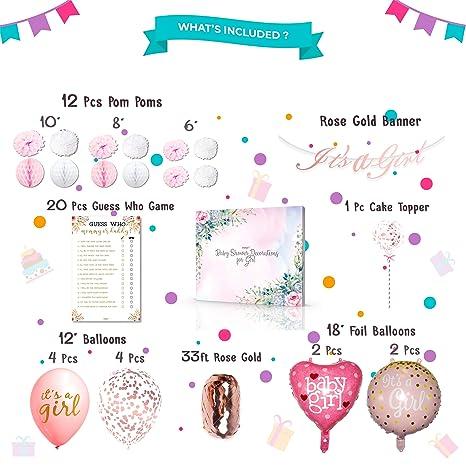 Amazon.com: Decoraciones de baby shower para niñas y juegos ...