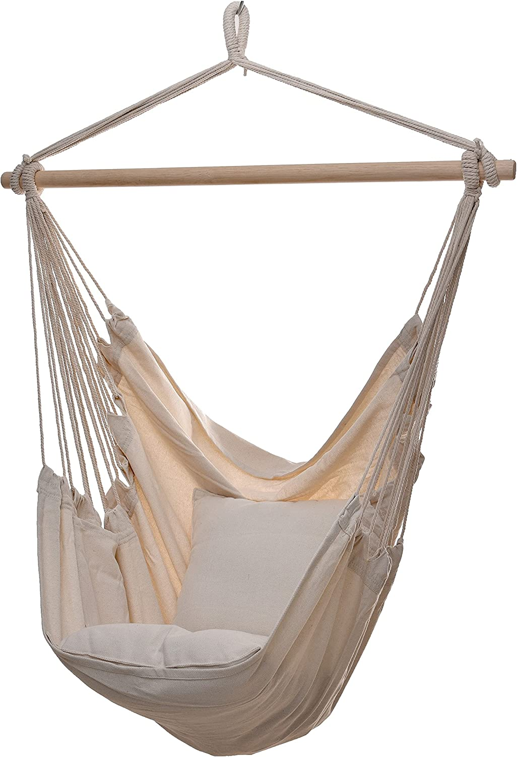 Project One Hanging Rope Hammock Chair, Hanging Rope Swing Seat with 2 Pillows, Carrying Bag, and Hardware Kit Perfect for Outdoor/Indoor Yard Deck Patio and Garden, 300 Pound Capacity (Beige)