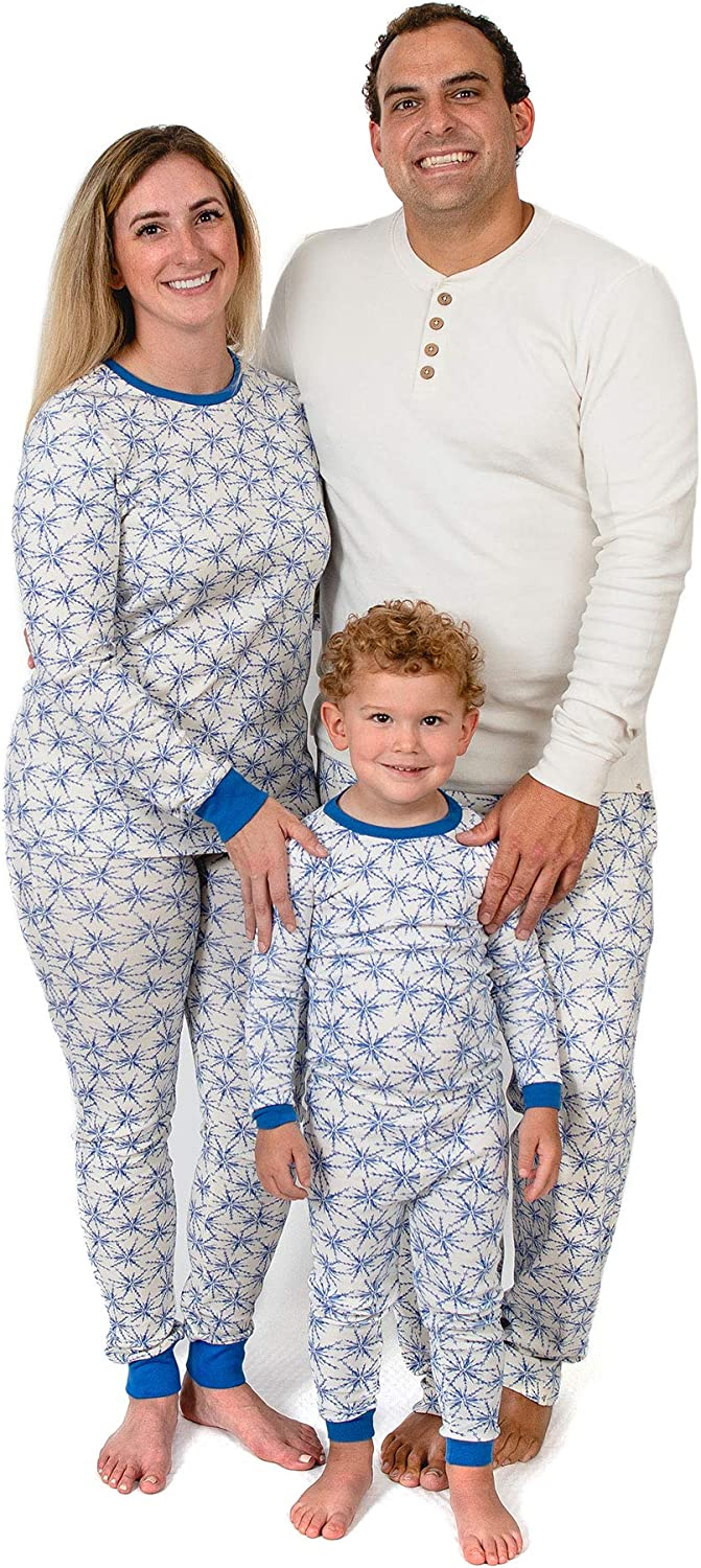 Burt's Bees Baby Family Jammies, Holiday Matching Pajamas, 100% Organic Cotton PJs, Frozen Blue Snowflakes, Womens Small