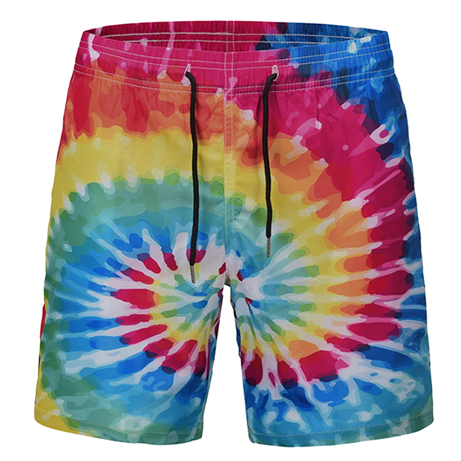 6db8873ae6 AJHFI HSAH Rainbow Tie Dye Men's Swim Trunks Quick Dry Beach Shorts |  Amazon.com