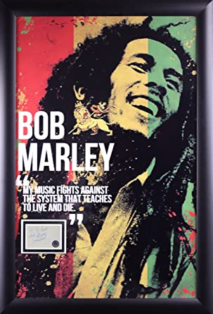 Bob Marley Poster With Signature Cut Out In Framed Case